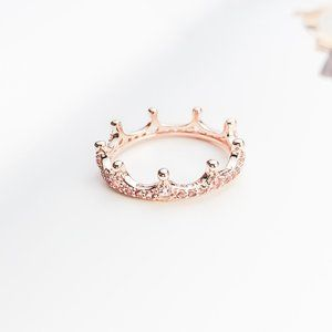 Pink Sparkling Crown Ring